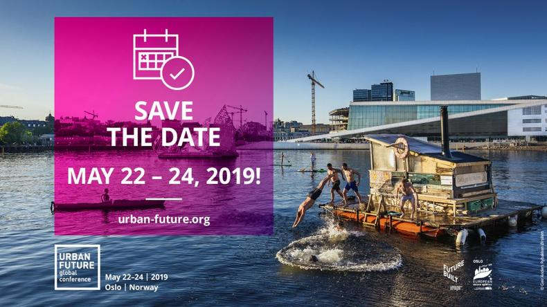 Save the date -kuva Urban Future -konferenssiin 2019